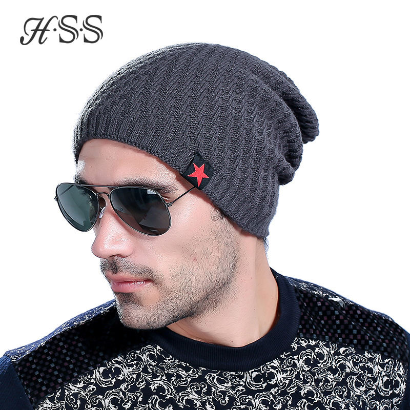 HSS Shine New Years Men's winter cap five-star velvet beanies Leisure plus size cashmere warm man knitted skullies