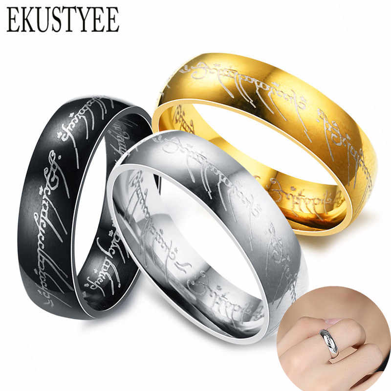 2019 New 316L Stainless Steel Ring Present Lord of One Rings for Women Men Fashion Stainless Steel Couple Rings Jewelry