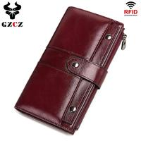 GZCZ Women Wallets Genuine Leather Long Wallet High Quality Coin Purse Rfid Wallet Cell Phone Pocket Portomonee Clamp For Money