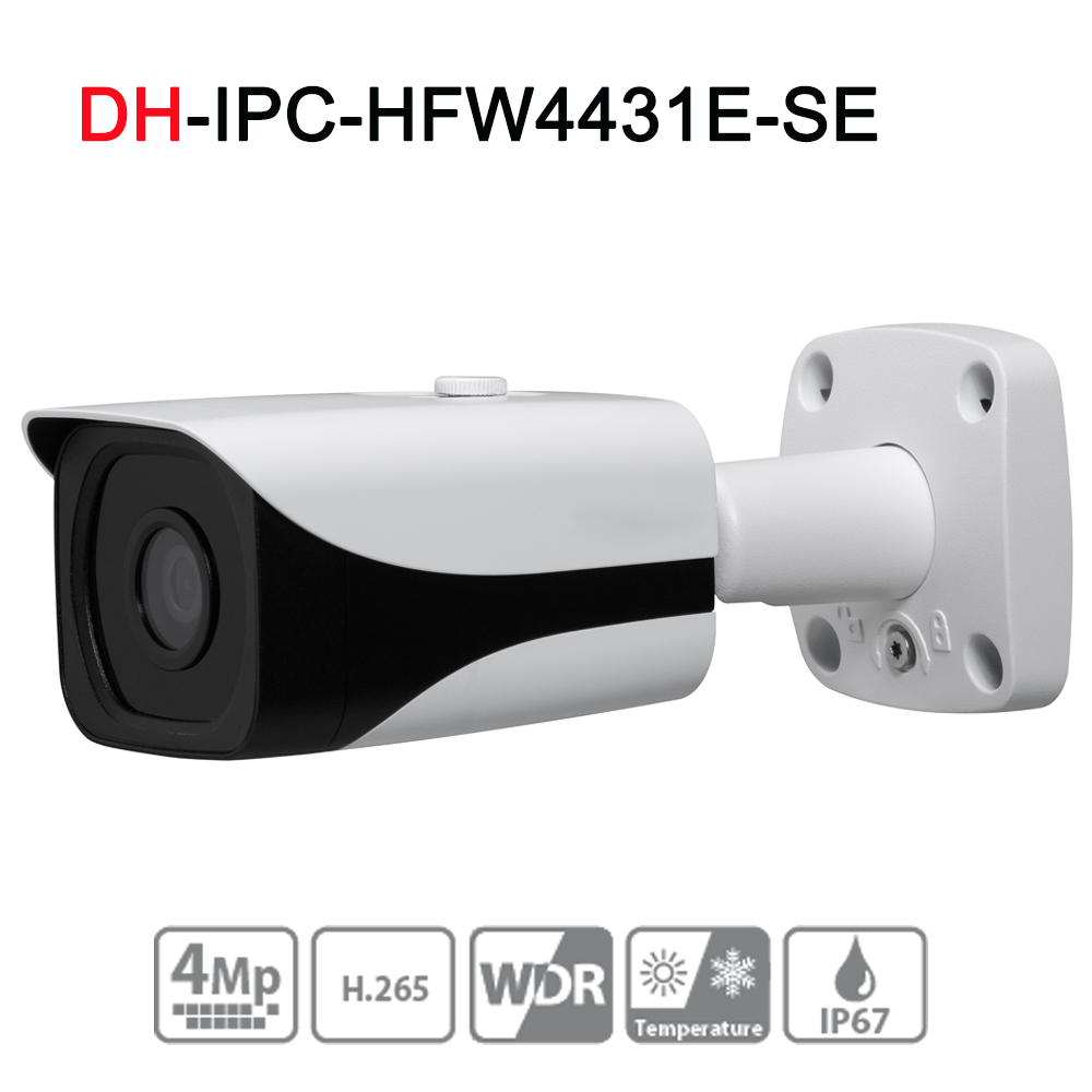 IPC-HFW4431E-SE 4MP WDR IR Mini Bullet Network IP Camera 4K Smart Detect 40m IR Support Micro SD Card H.265 WDR IP67 PoE original ipc hdbw4431f as 4mp ir mini dome network ip camera ir20m support micro sd card smart detection h 265 wdr ip67 ik10 poe