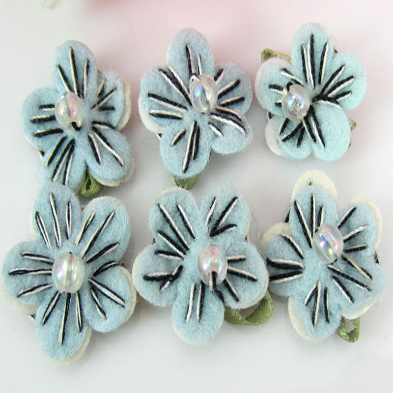 Small Blue Flowers For Weddings: 40pcs Blue Small Felt Flowers Sewing Bead Leaf Flower