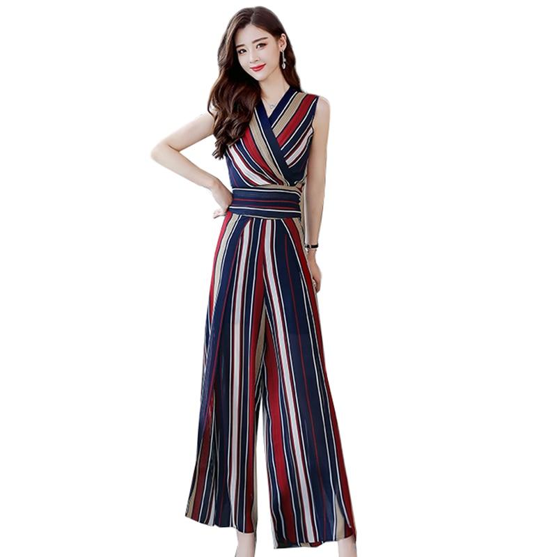 Women Summer Sleeveless Top Long Pants Set 2018 New Fashion Striped Chiffon blouse Wide Leg Pants