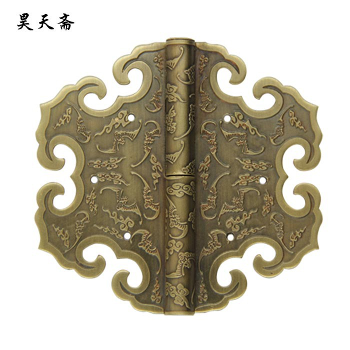 [Haotian vegetarian] Antique Chinese brass coat detachable door hinge (hinge) Small 9cm [haotian vegetarian] box door hinge chinese antique brass door 12 5cm muffler coincide page hinge