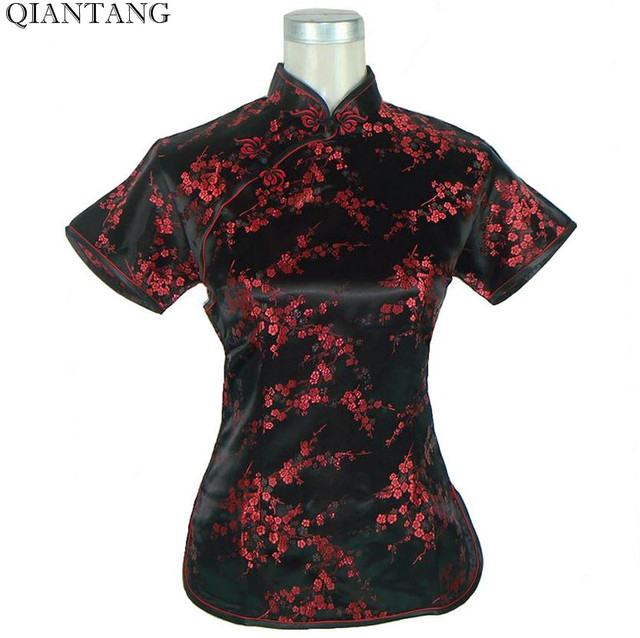 51dd3a01e7b91b Black-Red Novelty Summer Blouse Mujere Camisa Chinese Women's Satin  Polyester Shirt Tops Costumes Flower