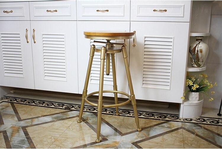 Нордический Золотой барный стул, железный вращающийся подъемный барный стул с задней металлической высокой ножкой, регулируемый по высоте