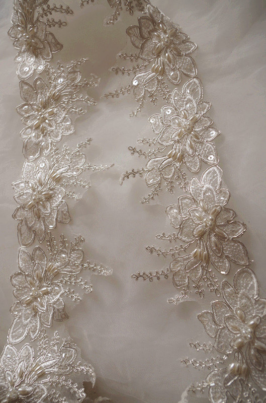 Corded  Lace Edging Embroidered Trim Trimming for DIY Wedding Bridal Dress 1Yard