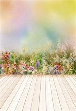 купить Laeacco Colorful Flowers Painting Wooden Floor Baby Photography Backgrounds Customized Photographic Backdrops For Photo Studio дешево