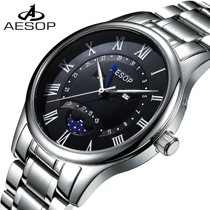 Classic Moon Phase Watch Men Retro Roman Numerals Dial Sapphire Glass Stainless Steel Waterproof Quartz Watch Relogio Masculine luxury moon phase watch men sapphire glass stainless steel waterproof automatic machine date watch relogio masculine