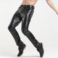 Mens fleece Motorcycle Faux Leather pants for winter Men Slim pu Leather Sweatpants Hip hop Streetwear Trousers Pantalon homme