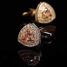 High Quality Vagula Men's Champagne Zircon Cufflink Gold Plating Men's Shirt cuff links Wedding cuffs 255a