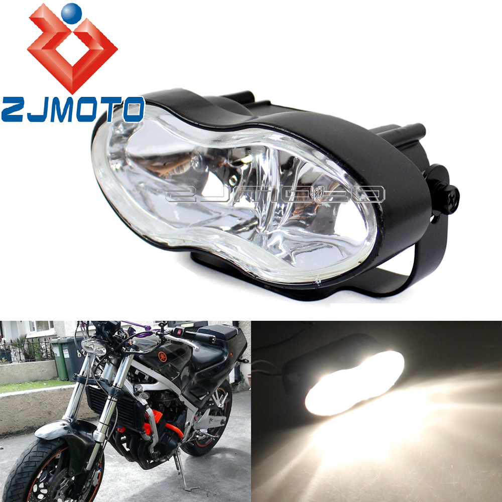 Universal Adjustable Oval Twin Headlight Motorcycle Custom Wave Headlight For Halrey Custom Streetfighter Cafe Racer Headlamp