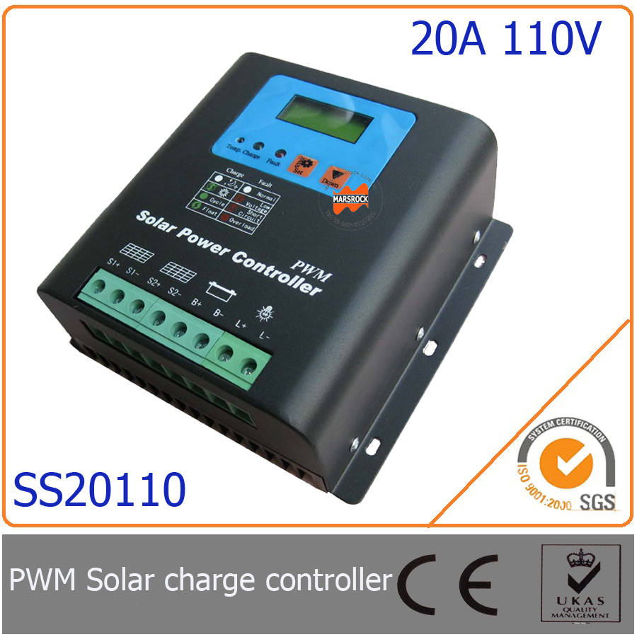 20A 110V PWM Solar Charge Controller with LED&LCD Display, Auto-Identification Voltage, MCU design with excellent performance20A 110V PWM Solar Charge Controller with LED&LCD Display, Auto-Identification Voltage, MCU design with excellent performance