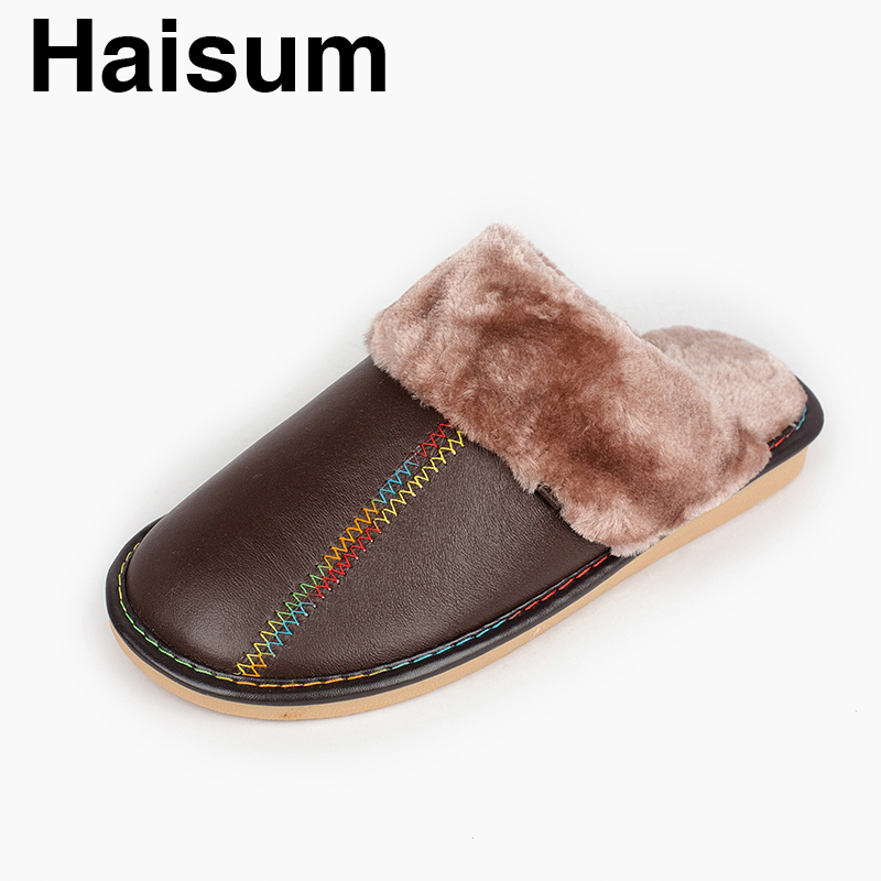 Men 's Slippers Winter genuine Leather Home Indoor Non - Slip Thermal Slippers 2018 New Hot Haisum Tb013 men s slippers winter pu leather home indoor non slip thermal slippers 2018 new hot haisum h 8007