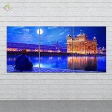 Wall Art HD Prints Canvas Art Painting Modular Picture And Vintag Poster Golden Night Temple Canvas Painting Home Decor 3 PIECES frameless dancing girl oil painting butterfly wall poster canvas art hd modular picture home decor 3 pieces