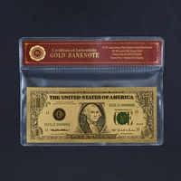 Marco de plástico libre coloreado, 1 dólar, billete dorado, Jefferson y billete de declaración de independencia