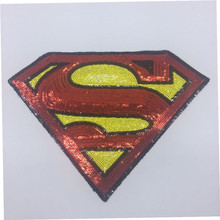 Kids clothes sequins sewing patches for clothing 28cm Superman S patch Diy  Jacket Shirt Polo Cap 34c917f7dd60