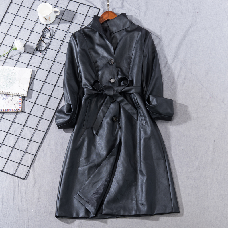 New Spring Autumn Fashion Black Bow Sashes Faux   Leather   Women Elegant Slim PU Long Jacket Work Wear All-Match   Suedes   Coats Mw437