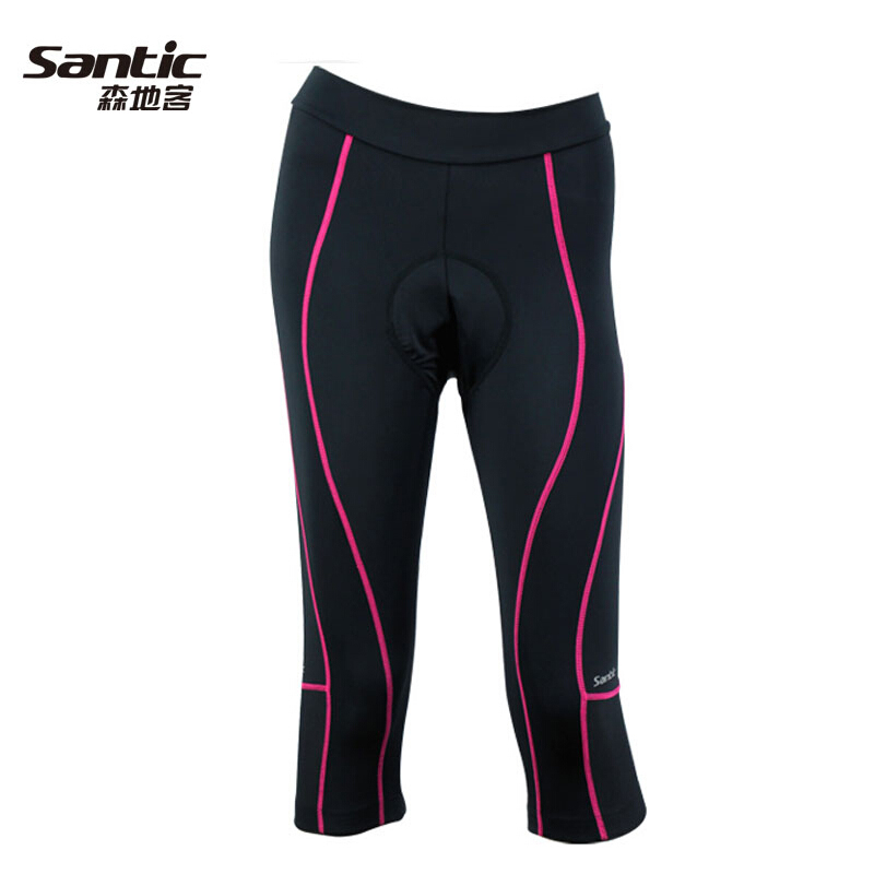 SANTIC New Womens Ladies Cycling 3D Padded Bike Bicycle Capri Pants 3/4 Tights Shorts MTB Road Bike Shockproof Short Pants santic men s professional cycling bib shorts coolmax padded man s bicycle bib shorts 3d braces pants bike tights s 3xl
