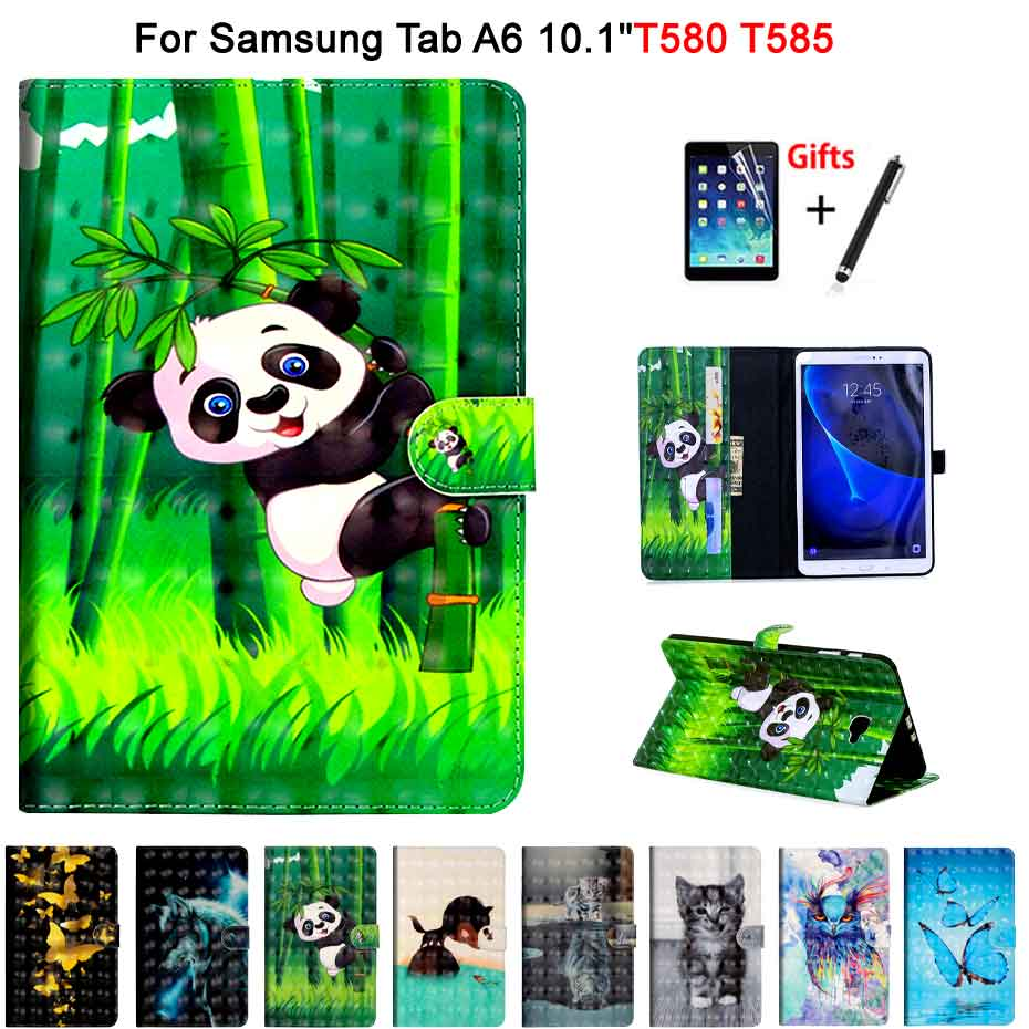 Leather Case For Samsung Galaxy Tab A A6 10.1 2016 SM-T580 T585 T580 T585N Smart Cover Funda cartoon PU Leather Skin+Film+PenLeather Case For Samsung Galaxy Tab A A6 10.1 2016 SM-T580 T585 T580 T585N Smart Cover Funda cartoon PU Leather Skin+Film+Pen