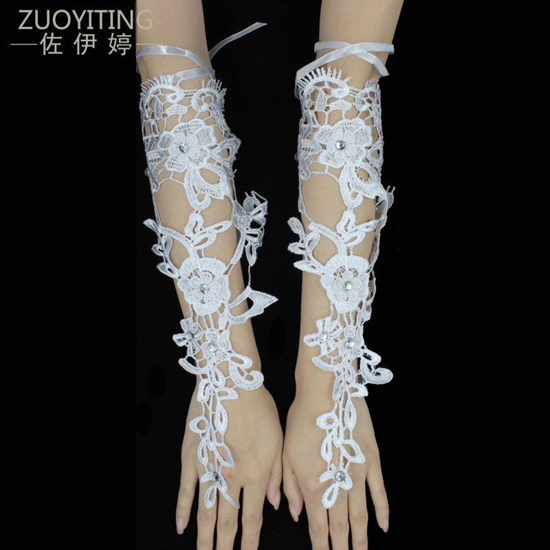 ZUOYITING Simple Bride Свадебные перчатки Вечерние без пальцев Luva De Noiva Luva Кружева Свадебные перчатки Para Noiva Свадебные аксессуары