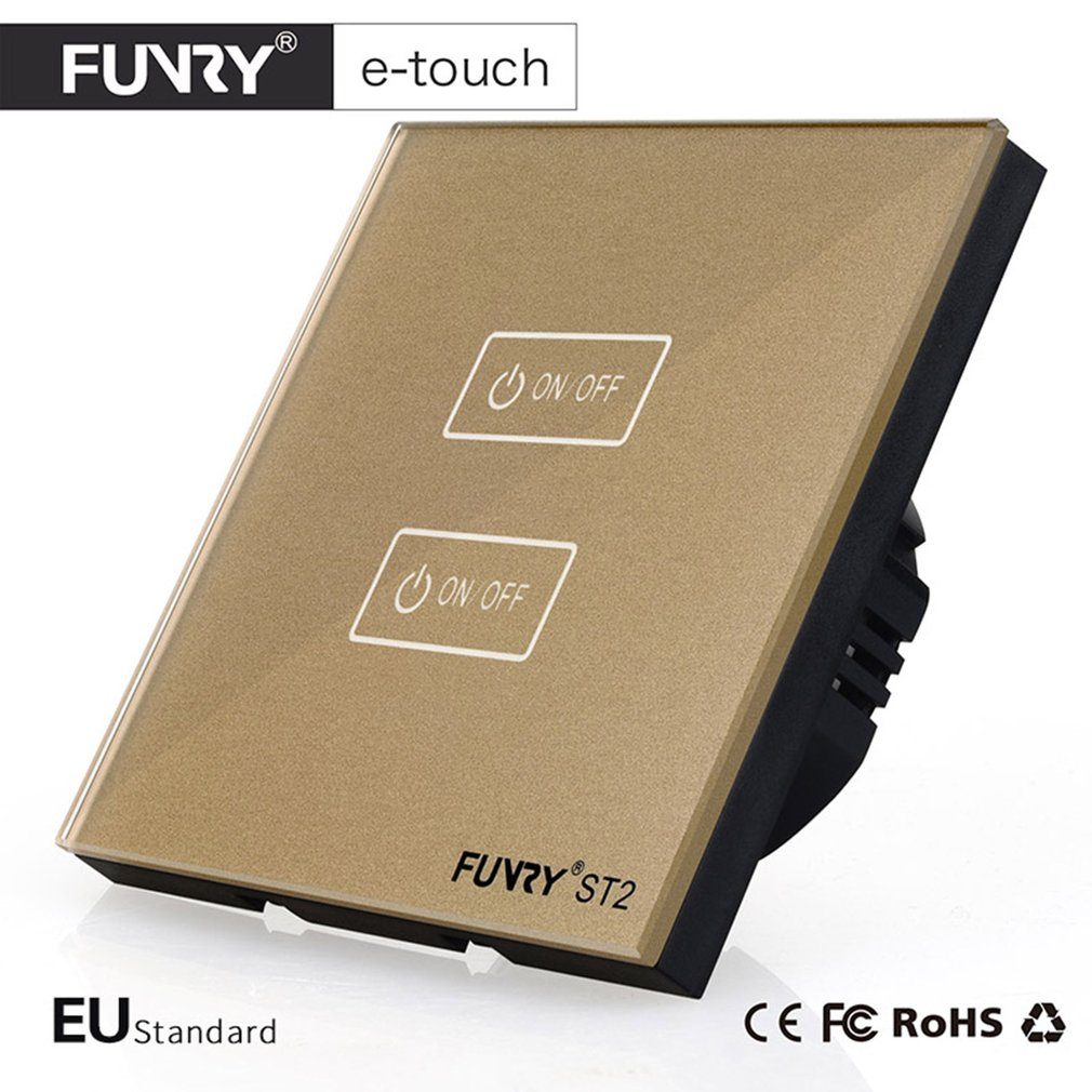 FUNRY ST2-2 Waterproof Crystal Glass Panel Smart Touch LED Shiny Panel Wall Touch Switch with Remote Controller for EU Standard 2017 smart home crystal glass panel wall switch wireless remote light switch us 1 gang wall light touch switch with controller