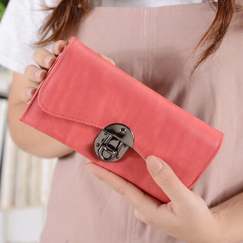 Marca Mujeres carteras largas con cuero de la PU de la escobilla de - Monederos y carteras