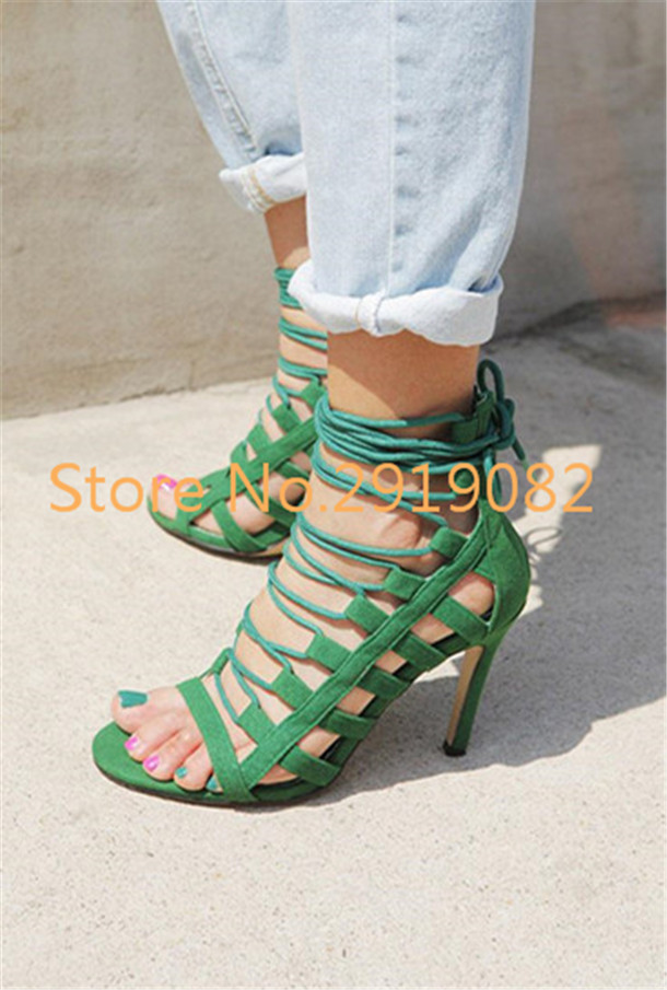 ФОТО Sexy Cross-Strap Gladiator Style Sandals Back Zip Opening Pointed Toe High Heel Stilettos Women Shoes Black Green Available