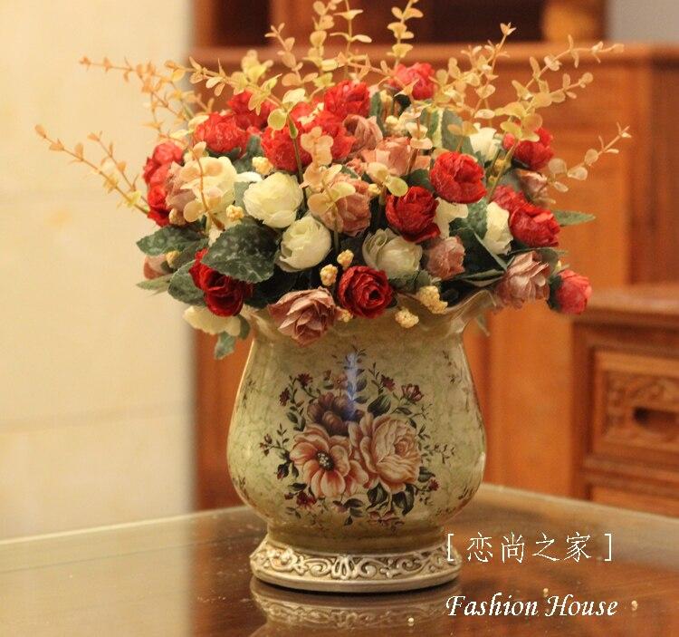 moda vintage de lujo mesa de comedor mesa de caf jarrn decorativo calidad flor dibujo coloreado