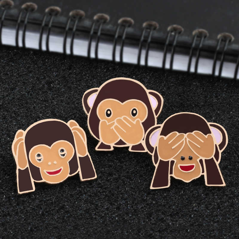 3Pcs Suit Unique Monkey Brooches Pins Women Anime Icon Backpack Badge Enamel Pin Clothes Coat Lapel Pin Cartoon Jewelry Kid Gift