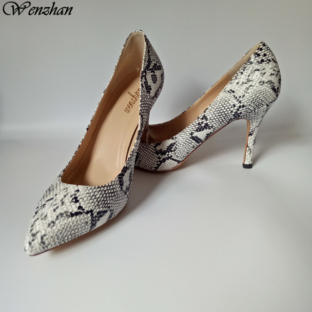 WENZHAN Hot sale white black python snake pointed toe women ...