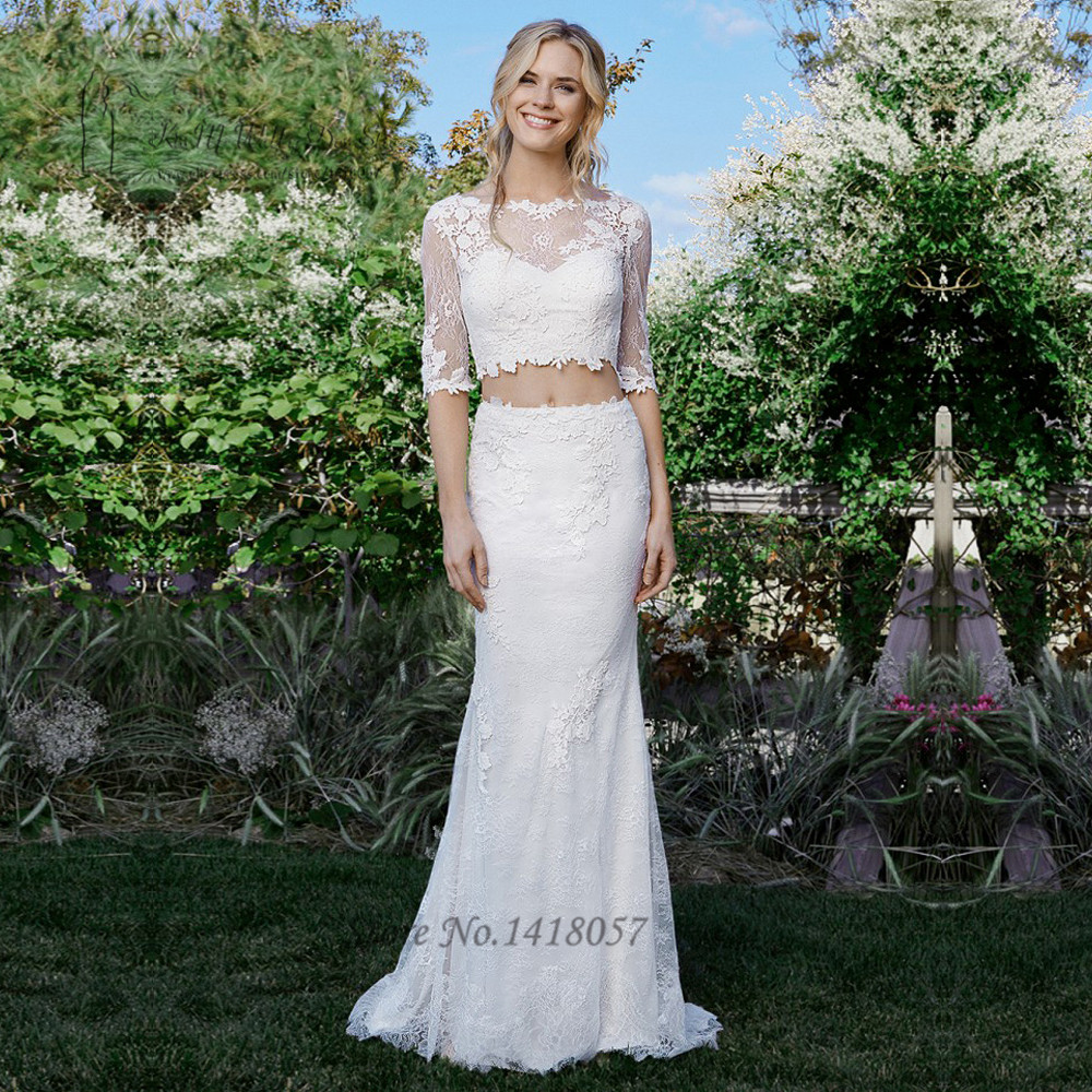 Boho rustic two piece wedding dress dress 2017 country for Rustic country wedding dresses