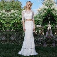 Boho Rustic Two Piece Wedding Dress 2017 Country Western Bride Dresses Lace Mermaid Wedding Gowns Vestido de Noiva de Renda