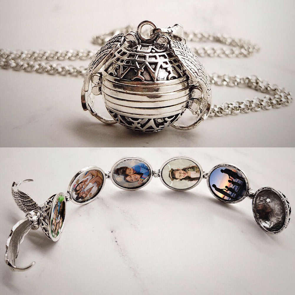 5 Photo Locket  Family Tree Necklace Necklace Ball Angel Wing Pendant Expanding Ancient Silver Gold Rose Gold