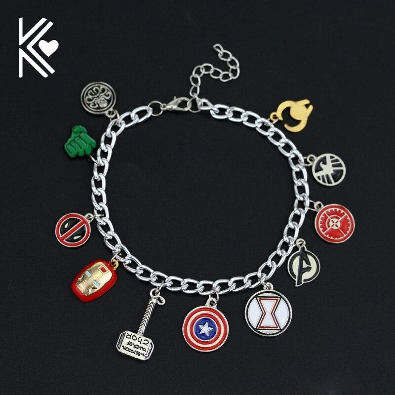 Marvel series Avengers Charm Bracelet Superhero The American Captain Iron Man Spiderman Thor's Hammer Bracelet Fashion Jewelry