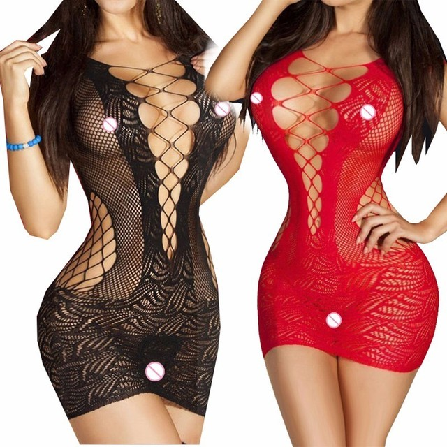 Sexy Lingerie Hot Bodysuits Costumes Women Bodystocking Mesh Body Mini Dress Babydolls Underwear Hollow Out Fishnet QQ025
