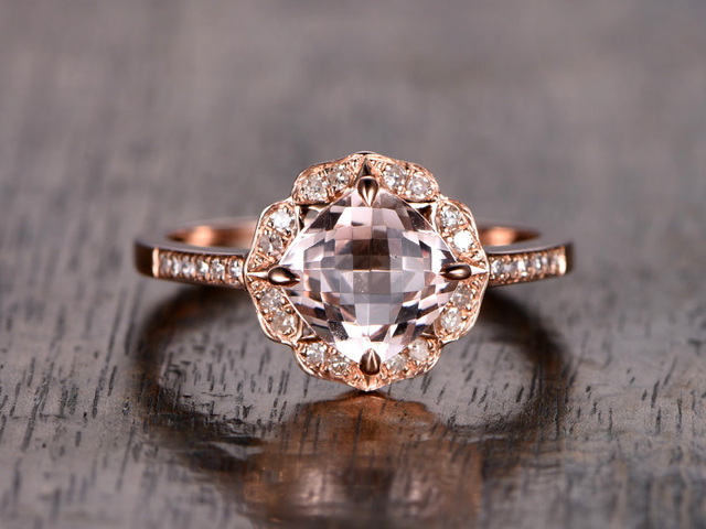 Us 509 0 Myray 6 5mm Cushion Cut Pink Morganite Flower Floral Diamond Halo Engagement Ring Wedding Ring 14k Rose Gold Anniversary Band In Rings