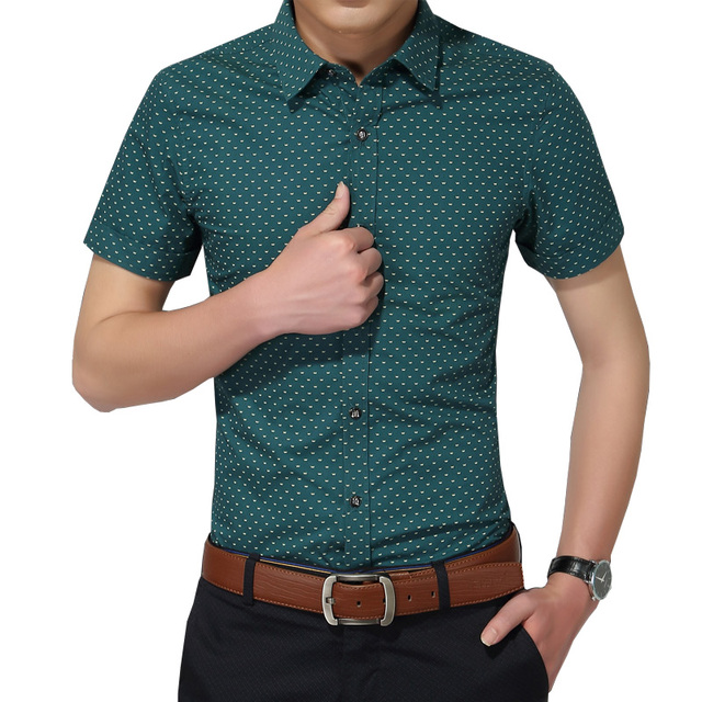 2016 New Autumn Fashion Brand Men Clothes Slim Fit Men Short Sleeve Shirt Men Polka Dot Casual Men Shirt Social Plus Size 5XL
