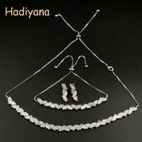 HADIYANA New Luxury Women Wedding Choker Cubic Zirconia Set Jewelry Fashion Women Copper Jewelry Sets With Factory Price CN449