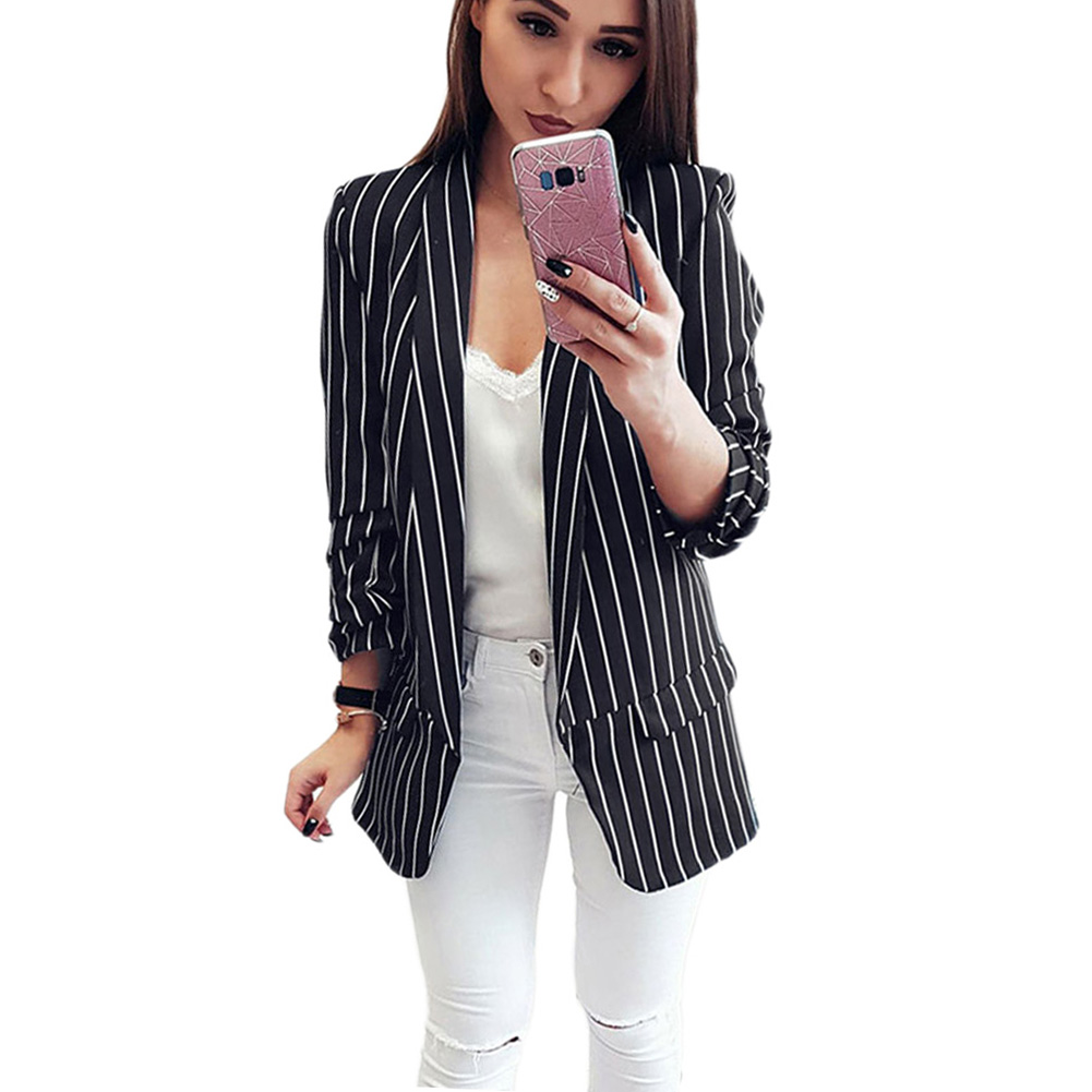 YJSFG HOUSE 2018 Fashion Women Blazer Lady Casual Jacket Long Sleeve Blazers Suit Outwear Striped Coat Spring Long Business Tops