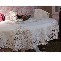 Classic rustic fashion embroidery fabric dining table cloth tablecloth round table cloth cutout cover towel self shade rose