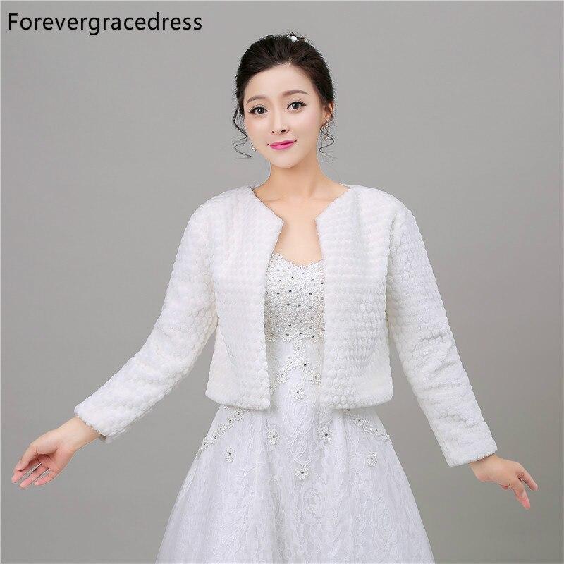 Forevergracedress Real Pictures New Warm Faux Fur Wedding Wrap Winter Coat Bolero Jacket Bridal Accessories Cape Cloak In Stock