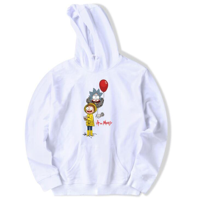 2018 Fashion Brand Oversized Hoodies Cartoon Rick and Morty Print Women/Men Hoody Streetwear Casual Hooded Sweatshirts Pullovers