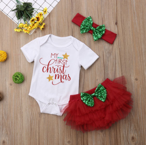 Newborn Xmas Clothes New Infant Baby Girls Christmas Outfits Romper Tutu Shorts Headband