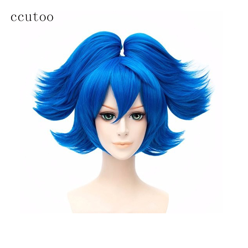 ccutoo Ladys Blue Short Base Body and 2 Removable Chip Ponytails Heat Resistance Synthetic Hair Cosplay Full Wigs