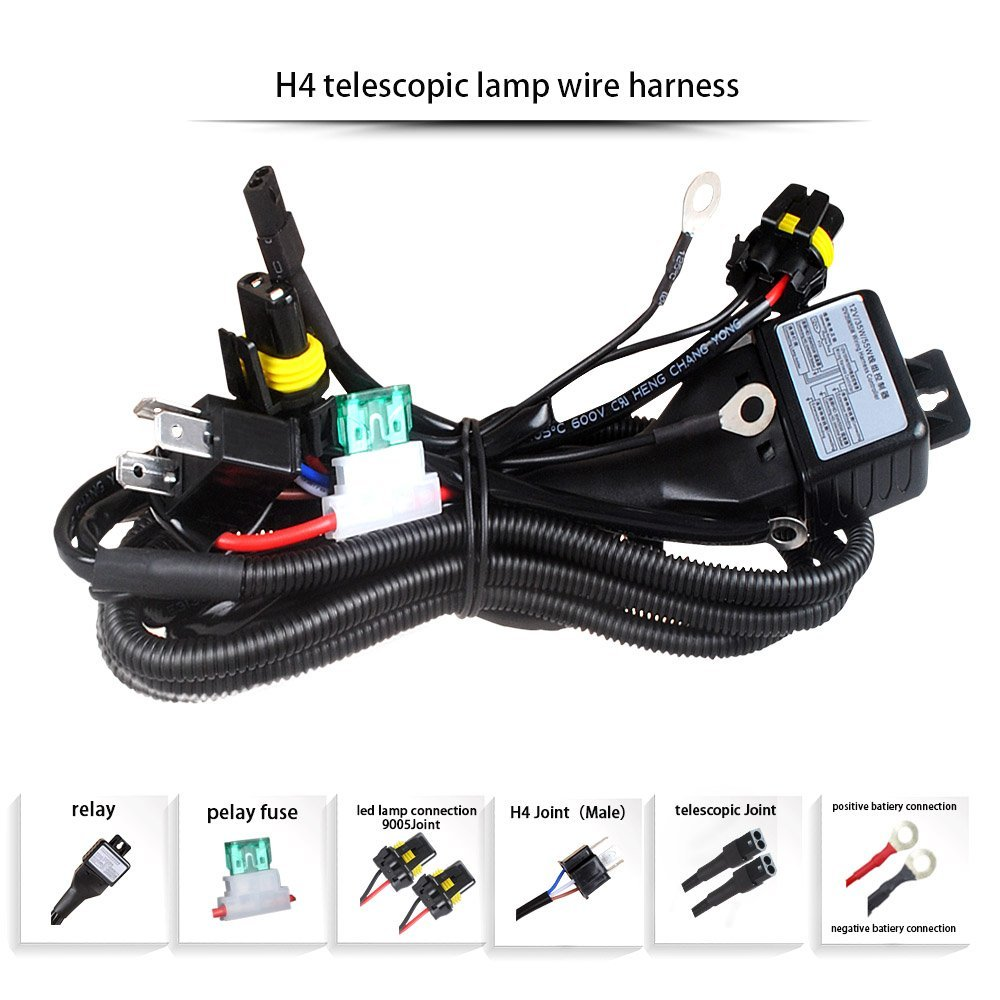 12v 35w 55w hid bi xenon h4 wire harness controller for car headlight retrofit connect hid bixenon projector lens car auto in wire from automobiles  [ 1000 x 1000 Pixel ]