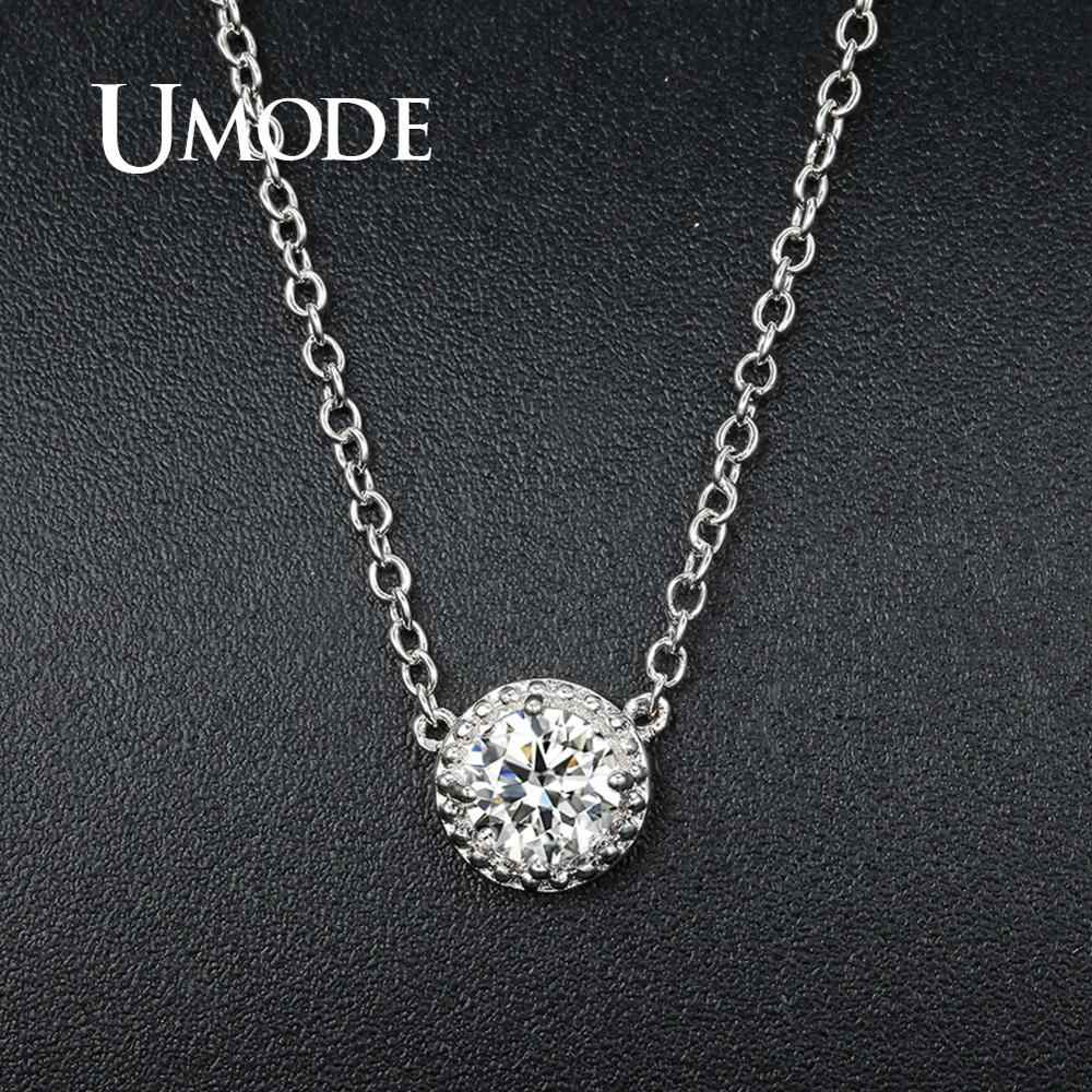 UMODE Fashion Round CZ Crystal Link Chain Pendant Necklaces for Women Zirconia White Gold Color Simple Jewelry Gifts Gils UN0236