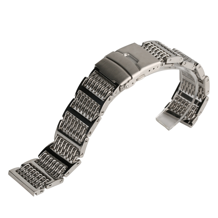 лучшая цена 20mm 22mm 24mm Watchband Silver Stainless Steel Wristwatch Band Strap Fashion Bracelet Replacement Men's Watch Accessories