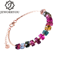 Fashion Gem Women Bracelet 2017 New Style Adjustable Chain Tourmaline Natural Stone Bracelet Female Charm Jewelry Valuable Gift
