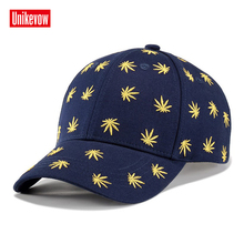 UNIKEVOW Cotton Mens Baseball Cap With 3D Leaves Embroidered Hats Leisure Sports