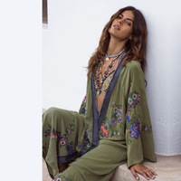 Boho Inspirado bordado kimono kaftan frente aberta cintura top praia contraste camisa longa blusa dress summer beach dress